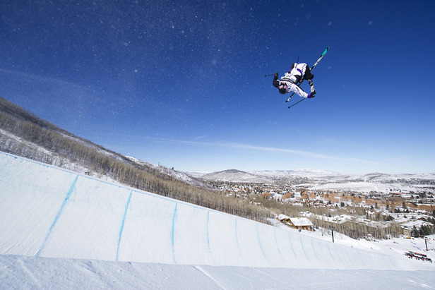 A skier gets airborn during the US Grand Prix halfpipe warm-ups at Park City Mountain Resort.