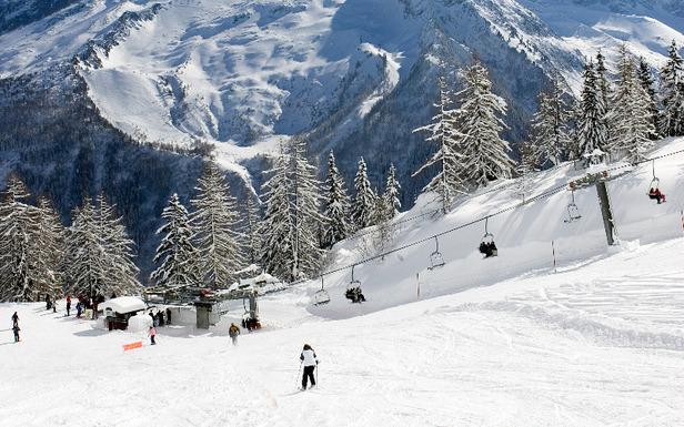 Ski aux abords du télésiège de la Trappe sur le domaine de la Flégère