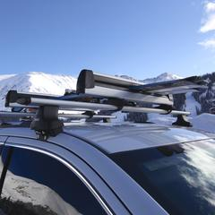 OnTheSnow's test of Thule's 6-ski roof rack.  - © Nick Jones