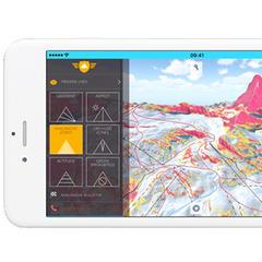 Een koolkit biedt extra info zoals hellingshoek en lawinegevaarlijke zones. - © FATMAP