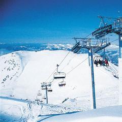 Taking the quadlift in Flaine, Le Grand Massif ski area. Credit Flaine Tourism